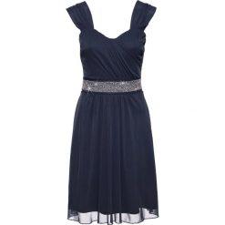 Sukienka koktajlowa z siatkowego materiału i dżerseju bonprix ciemnoniebieski. Niebieskie sukienki z falbanami marki bonprix, z aplikacjami, z dżerseju. Za 89,99 zł.