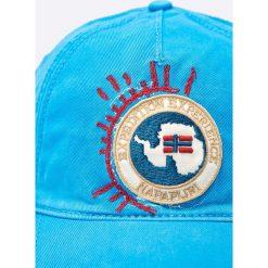 Napapijri - Czapka. Szare czapki z daszkiem męskie marki Napapijri, z dzianiny. W wyprzedaży za 179,90 zł.