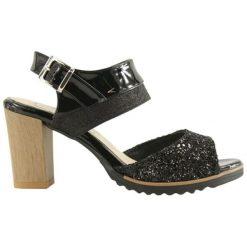 Rzymianki damskie: Skórzane sandały w kolorze czarnym