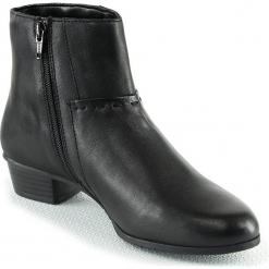 Skórzane botki w kolorze czarnym. Czarne botki damskie na obcasie Manoukian. W wyprzedaży za 282,95 zł.