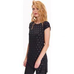 T-shirty damskie: T-SHIRT DAMSKI CZARNY ZE SREBRNYM, ASYMETRYCZNA DŁUGOŚĆNADRUKIEM