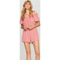 Kombinezony damskie: Kombinezon z wycięciami na ramiona - Różowy