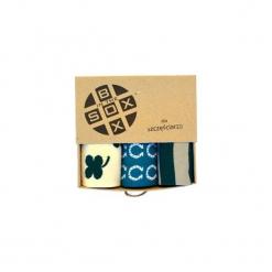 Box dla Szczęściarza - Skarpetki. Brązowe skarpetki męskie Sox in the box, w kolorowe wzory, z bawełny. Za 80,00 zł.