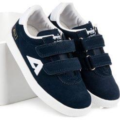 Buty dziecięce: ZAMSZOWE TRAMPKI NA RZEPY AMERICAN American Club niebieskie