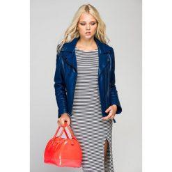 Odzież damska: Skórzana kurtka w kolorze niebieskim