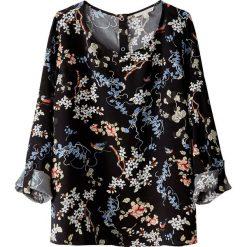 Bluzki asymetryczne: Bluzka z okrągłym dekoltem, nadruk w kwiaty, długi rękaw
