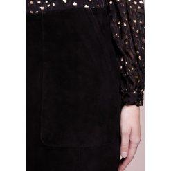 Minispódniczki: Bruuns Bazaar SHANNAN SUEDE Spódnica skórzana black