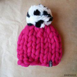 Czapki damskie: Wełniana, ciepła czapka Beanie z pomponem