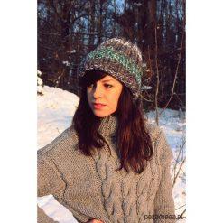 Czapki zimowe damskie: Czapka melanż szarość hand made z wełną