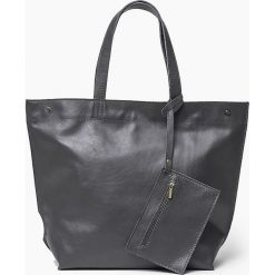 88a087e74f7dc Skórzana torba worek Szara MARCELA. Czarne torebki klasyczne damskie Vera  Pelle, w paski, ...
