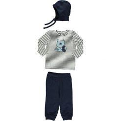 """3-częściowy zestaw """"Morten"""" w kolorze niebiesko-białym. Białe t-shirty chłopięce Name it, w paski, z bawełny, długie. W wyprzedaży za 49,95 zł."""