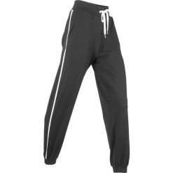 Spodnie sportowe, długie, Level 1 bonprix czarny melanż. Czarne spodnie sportowe damskie marki KIPSTA, l, z bawełny, na fitness i siłownię. Za 79,99 zł.