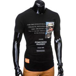T-SHIRT MĘSKI Z NADRUKIEM S929 - CZARNY. Czarne t-shirty męskie z nadrukiem marki Ombre Clothing, m. Za 29,00 zł.