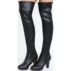 Czarne Kozaki Levity. Czarne buty zimowe damskie marki Born2be, na wysokim obcasie, na słupku. Za 94,99 zł.