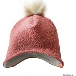 Czapka zimowa z pomponem - róż indyjski. Czerwone czapeczki niemowlęce Pakamera, na zimę, z polaru. Za 79,00 zł.