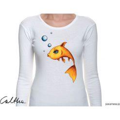Złota rybka - damska koszulka z długim rękawem. Żółte bluzki z odkrytymi ramionami Pakamera, z długim rękawem. Za 79,00 zł.