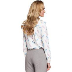 VILLETTE Bluzka z dekoltem wzór w piórka - model 1. Czarne bluzki wizytowe marki bonprix, eleganckie. Za 129,99 zł.