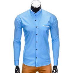 KOSZULA MĘSKA Z DŁUGIM RĘKAWEM K303 - BŁĘKITNA. Niebieskie koszule męskie na spinki Ombre Clothing, m, z bawełny, z kontrastowym kołnierzykiem, z długim rękawem. Za 39,99 zł.