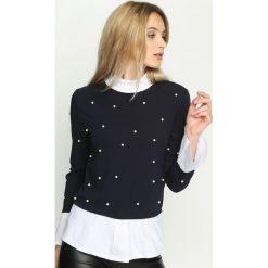 Bluzki asymetryczne: Granatowa Bluzka Elizabethan Pearls