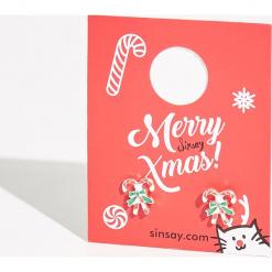 Kolczyki z motywem świątecznym - Jasny szar. Różowe kolczyki damskie Sinsay. Za 7,99 zł.
