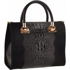 Torebki klasyczne damskie: Skórzana torebka w kolorze czarnym – 31 x 25 x 16 cm