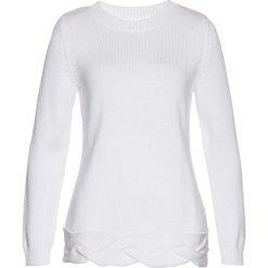 Swetry klasyczne damskie: Sweter bonprix biały