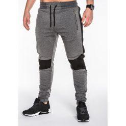 SPODNIE MĘSKIE DRESOWE P425 - GRAFITOWE. Szare spodnie dresowe męskie Ombre Clothing, z bawełny. Za 35,00 zł.