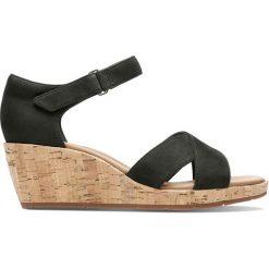 Rzymianki damskie: Sandały ze skóry zamszowej, na koturnie, Un Plaza Cross