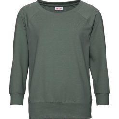 Bluza oversize, rękawy 3/4 bonprix szaro-zielony. Niebieskie bluzy damskie marki bonprix, z nadrukiem. Za 54,99 zł.