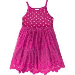 Sukienki dziewczęce: Sukienka z falban z koronką bonprix biel wełny z nadrukiem – fuksja