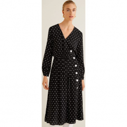 Mango - Sukienka Tabs. Czarne długie sukienki Mango, na co dzień, l, z tkaniny, casualowe, z długim rękawem, rozkloszowane. Za 229,90 zł.