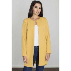 Żółty Pudełkowy Kobiecy Płaszcz bez Zapięcia. Żółte płaszcze damskie marki Mohito, l, z dzianiny. Za 136,90 zł.