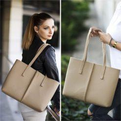 Duża Torebka - Minimalistyczna -Niska Beżowa. Brązowe torebki klasyczne damskie Pakamera, duże. Za 71,00 zł.