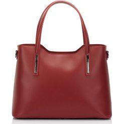 Torebki klasyczne damskie: Skórzana torebka w kolorze bordowym – 37 x 27 x 16 cm