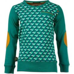 """Sweter """"Paper Aeroplane"""" w kolorze zielonym. Zielone swetry chłopięce marki 4FunkyFlavours Kids, z aplikacjami, z okrągłym kołnierzem. W wyprzedaży za 102,95 zł."""