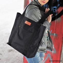 Duża torba Miss Szoperka MS1 - czarna. Czarne torebki klasyczne damskie Pakamera, z tkaniny, duże. Za 199,00 zł.