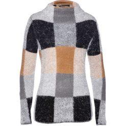 Sweter bonprix wielbłądzia wełna - dymny szary - czarny. Brązowe swetry klasyczne damskie bonprix, z wełny. Za 109,99 zł.