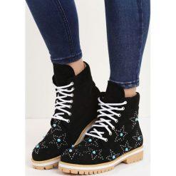 Czarno-Niebieskie Traperki Multistar. Czarne buty zimowe damskie Born2be, z okrągłym noskiem, na płaskiej podeszwie. Za 89,99 zł.
