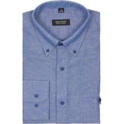 Koszula martos 1850 długi rękaw custom fit niebieski. Niebieskie koszule męskie jeansowe marki Recman, l, z aplikacjami, button down, z długim rękawem. Za 49,99 zł.
