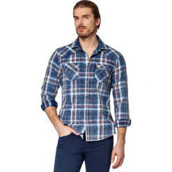 Koszula Jeansowa w Kratę Everlast. Brązowe koszule męskie jeansowe LANCERTO, m, z kontrastowym kołnierzykiem. W wyprzedaży za 199,90 zł.