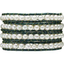 Bransoletki damskie: Skórzana bransoletka w kolorze ciemnozielono-białym z hodowlanymi perłami słodkowodnymi