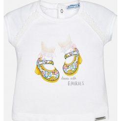 Mayoral - Top dziecięcy 68-98 cm. Szare bluzki dziewczęce Mayoral, z nadrukiem, z bawełny, z okrągłym kołnierzem, z krótkim rękawem. Za 64,90 zł.