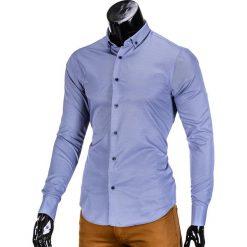 KOSZULA MĘSKA ELEGANCKA Z DŁUGIM RĘKAWEM K350 - GRANATOWA. Brązowe koszule męskie marki Ombre Clothing, m, z aplikacjami, z kontrastowym kołnierzykiem, z długim rękawem. Za 49,00 zł.