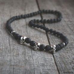 Naszyjniki męskie: naszyjnik MĘSKI :: black LAVA & skulls II