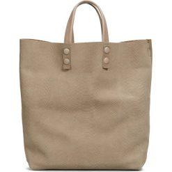 Torebki klasyczne damskie: Skórzana torebka w kolorze szarobrązowym – 45 x 46 x 11 cm