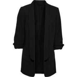 Długi żakiet z drapowanymi rękawami bonprix czarny. Czarne marynarki i żakiety damskie bonprix, eleganckie. Za 149,99 zł.