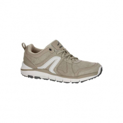Skórzane buty damskie do szybkiego marszu HW 540 w kolorze beżowym. Brązowe buty do fitnessu damskie NEWFEEL, z gumy. Za 169,99 zł.