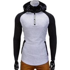 Bluzy męskie: BLUZA MĘSKA Z KAPTUREM B675 – SZARA
