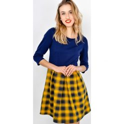 Sukienki: Sukienka kloszowana w kratę duo-kolor