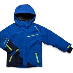 Kurtka narciarska w kolorze niebieskim. Czerwone kurtki dziewczęce przeciwdeszczowe marki Peak Mountain, z aplikacjami, z materiału. W wyprzedaży za 202,95 zł.